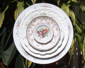 vintage pink Glass Plate Flower repurpose white rose shabby chic
