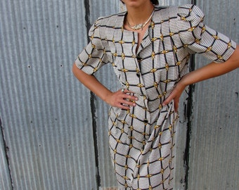 Vintage 1980s SILK CHAIN Print Dress with Houndstooth Detail