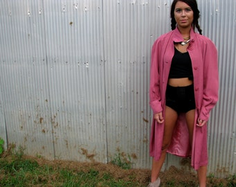 Vintage 1960s PINK Overcoat Car Coat EVENING TRENCH Womens New York City