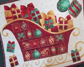Christmas Advent Calendar Santa's Sleigh quilted wallhanging LAST ONE