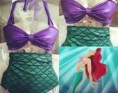little ariel mermaid bathing suit/swim suit(made to order)