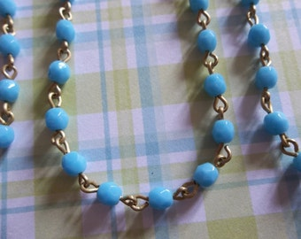 Bead Chain Light Blue Turquoise 4mm Fire Polished Glass Beads on Brass Beaded Chain - Qty 18 Inch strand