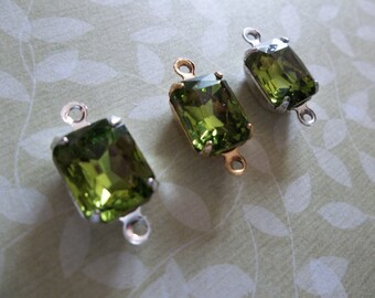 Green Olivine Czech Glass Octagon Gems in 10mm X 8mm Prong Settings Jewel Drops - Your Color Choice Metal Setting - Qty 2