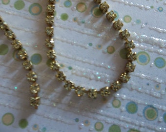 Rhinestone Chain Jonquil Yellow Czech Crystal 2mm in Brass Setting - Qty 36 inch strand