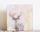 Startled - Wood art block, deer art, ornament, mustard yellow, grey, white, whimsical, surreal, original collage
