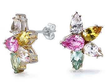 Sterling Silver Earrings With Multi Color Cubic Zirconia