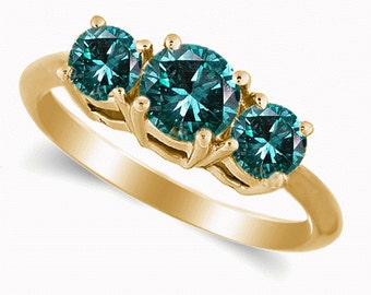 14K Yellow Gold Ring With Blue Diamonds