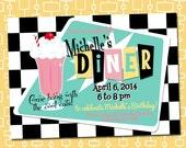 Custom Printable 50s Party Invitation, Birthday, Shower, Dinner, Family Reunion, Mid-Century Style Soda Fountain