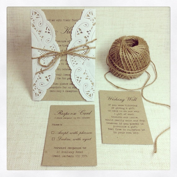 100 x Rustic Wedding Invitations - rustic chic wedding invitation - DEPOSIT
