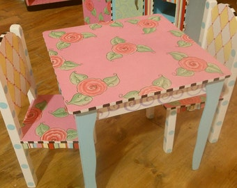 Custom Wooden,   Childs Kids, Table and Chair set. Toddler, Wooden Tables,  Custom Any color