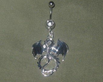 Handcrafted High Polished Silver Dragon Belly Ring 14 gauge CZ Belly Ring