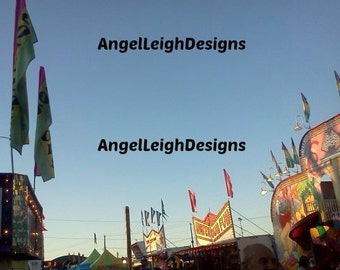 Flags at the Fair, dusk, digital download, Bath, NY