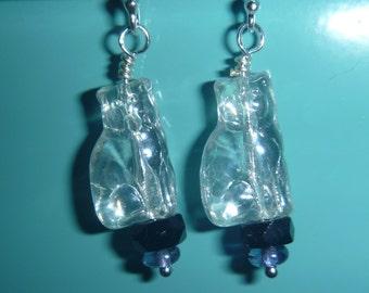 Clear Czech glass cat earrings with sterling silver hooks
