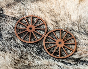 Cherry Wood Wagon Wheel Earrings