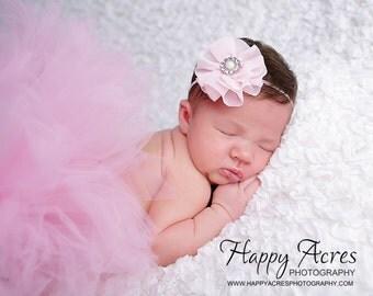 PINK TUTU with chiffon  headband....baby tutu, newborn tutu, 1st birthday tutu, baby photography prop