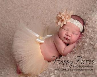 BEIGE tutu with vintage style headband, newborn tutu, baby tutu, newborn photography prop, birthday tutu