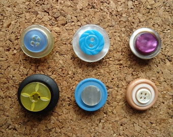 Upcycled Vintage Blues Button Magnet set of 6