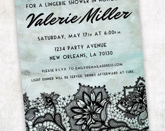 Printable Digital File - Lingerie Shower Invitation - Customizable - Black Lace, Bachelorette, Wedding, Ladies, Girls Night, Burlesque Party