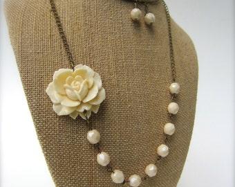 Ivory Flower Necklace Statement Necklace Wedding Jewelry Bridesmaid Jewelry Bridal