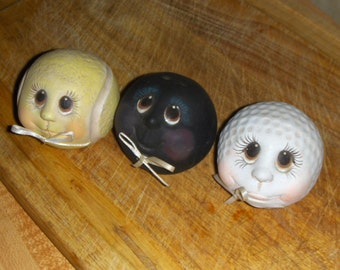 Vintage Set of 3 Porcelain Collectible Sports Balls-  Golf, Tennis, Bowling
