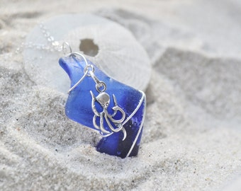 Seaglass Necklace with Octopus Charm- Cobalt Blue Seaglass - Sterling Silver - Nautical  - Cthulhu ?