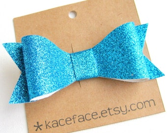 Cyan Blue Glitter Bow Hair Clip