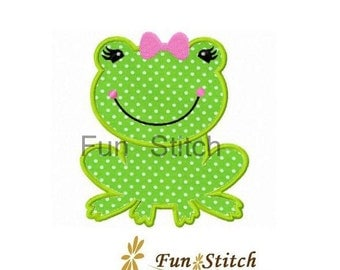 Girly frog applique machine embroidery design