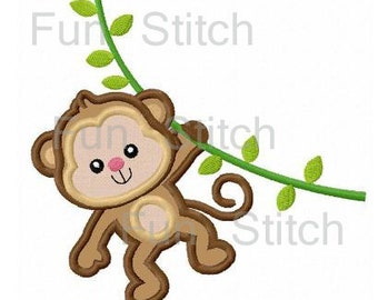Jungle monkey applique machine embroidery design