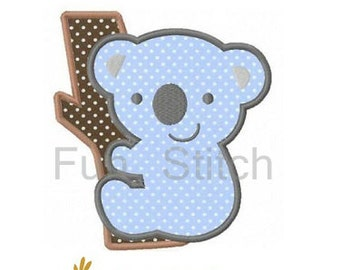 Koala bear applique machine embroidery design