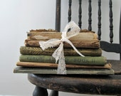 Tattered Antique Book Stack, Rustic Home Decor