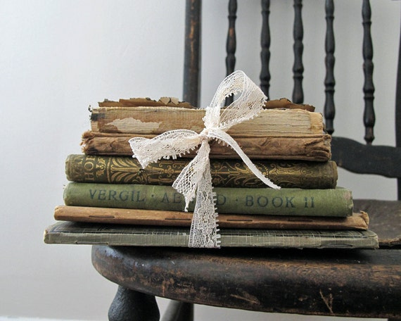 tattered antique book stack rustic home by littlekittenvintage