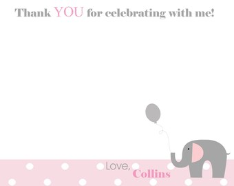 Sweet Little Peanut Collection: Thank You Notes. Set of 12 TY Notes. Elephant Thank You Notes. Elephant Birthday. Pink Gray. Grey.