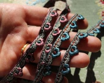 Antique lot of metal silk embroidered art deco rosette trim flapper flowers rose pink slate gold