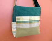1/2 Off Sale:  Kelly Ann1337E  Corduroy and Plaid Upholstery Fabric Medium Sized Purse  Easy and Comfortable Preppy