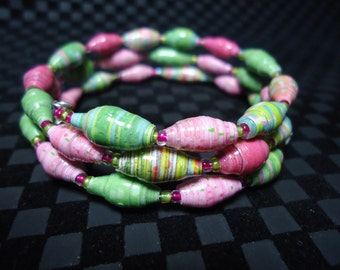 Pink and Green 'See You In the Funnies' paper bead  bracelet