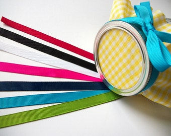 12 color ribbons for mason canning jars, wedding favors, shower gifts, precut 3/8 inch grosgrain ribbon, 10 colors: red blue green white