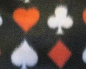 Playing Card Emblems on Black with Red 2 Layer Fleece Blanket - Ready to Ship Now