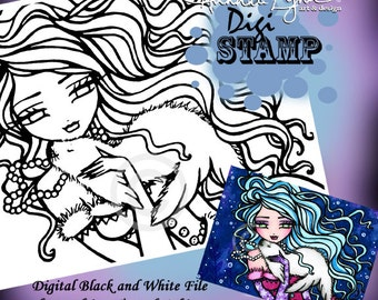 PRINTABLE Snowflake Seal Winter Mermaid Digi Stamp Coloring Page Fantasy Art Hannah Lynn