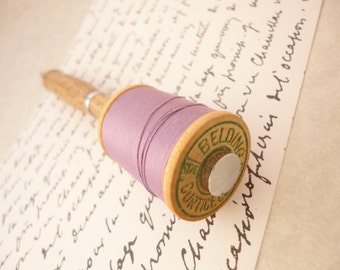 Cool Pen with Vintage Spool of Lavender Thread - Fun idea for the crafter