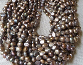 Bronze Pewter Rustic Nugget Pearls - 6mm to 7mm - Vintage Appeal - Full Strand