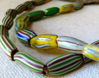 Vintage African Melon Glass Beads - Multi Color Striped Glass Beads - Rare Old Collectible Trade Beads