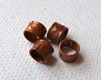 Rustic Copper Beads - 5x6mm - Large Hole Beads - Old Rustic Beads from Afghanistan - Qty 10 pcs