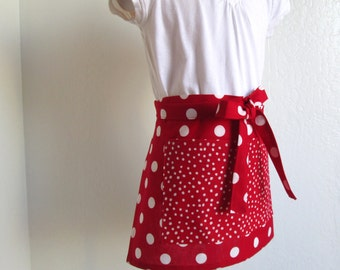 Childrens Half Apron - A Sweet Red Retro Polka Dot Kids Half Apron, a fun cooking or arts and crafts apron