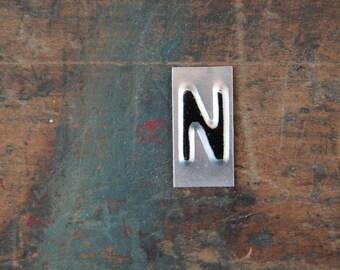 vintage industrial letter  N / metal letters / letter art