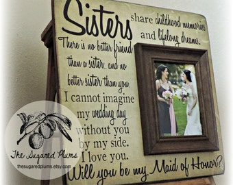 Will You Be My Bridesmaid, Will You Be My Maid Of Honor, Sister Gift, Best Friend Gift, Maid of Honor, Personalized Picture Frame 16x16