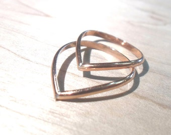 Rose gold rings, Rose gold knuckle rings, chevron stacking rings, pink gold rings, textured rings, rose gold stack, rose gold chevron