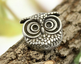 Metal Buttons - Owl Antique Silver Shank Metal Buttons. 0.63 inch , 6 pcs