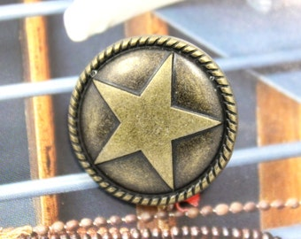 Metal Buttons - Roped Star Metal Buttons , Antique Brass Color , Shank , 0.91 inch , 6 pcs