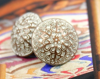 Metal Buttons - Leaf Vines Metal Buttons , Copper White Patina Color , Shank , 0.59 inch , 10 pcs