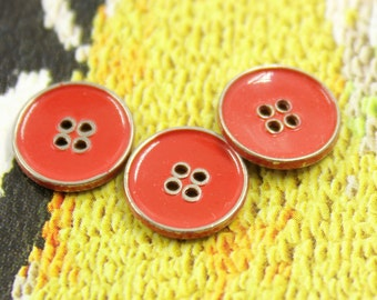 Metal Buttons - Red Metal Buttons , Silver Color , 4 Holes , 0.39 inch , 10 pcs